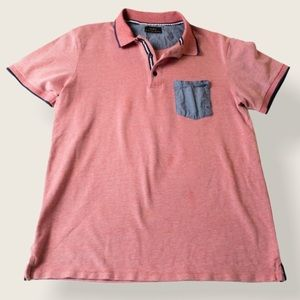 Zara Mens Red Polo with Chambray Pocket - Sz Large